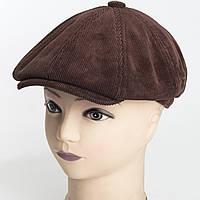 Детская кепка восьмиклинка из коричневого вельвета на флисе с ушами M