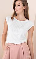 Женская летняя блуза молочного цвета с коротким рукавом. Модель Fabia Zaps, коллекция весна-лето 2017.