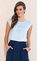 Женская летняя блуза голубого цвета с коротким рукавом. Модель Fabia Zaps, коллекция весна-лето 2017.