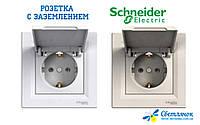 Розетка с заземлением с крышкой Schneider Electric ASFORA