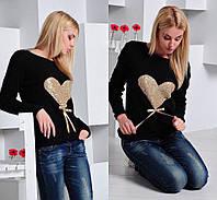 Стильный женский свитер с сердцем из паетки,материал вязка,цвет черный