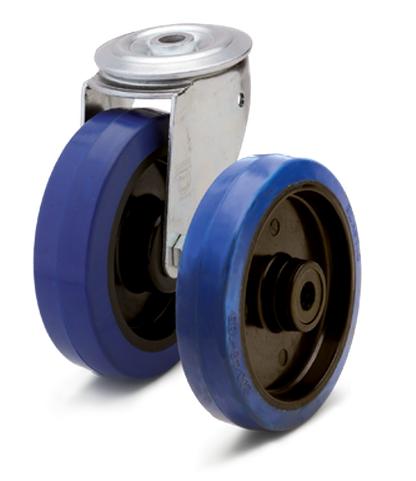 Колеса из эластичной резины с пластиковым диском. Нагрузка 100 - 350кг. t экспл. -20/+70С. Серия 29