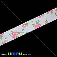 Атласная лента Розы розовые, 25 мм, Белая, 1 м (LEN-019643)
