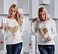 Стильный женский свитер с сердцем из паетки,материал вязка,цвет белый