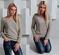 Стильный женский свитер с ажурным рисунком украшен стразами,материал вязка,цвет беж