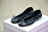 Балетки женские кожаные черного цвета итальянские Malibu