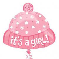 """Детская шапочка для девочки с надписью """"It`s a girl"""""""