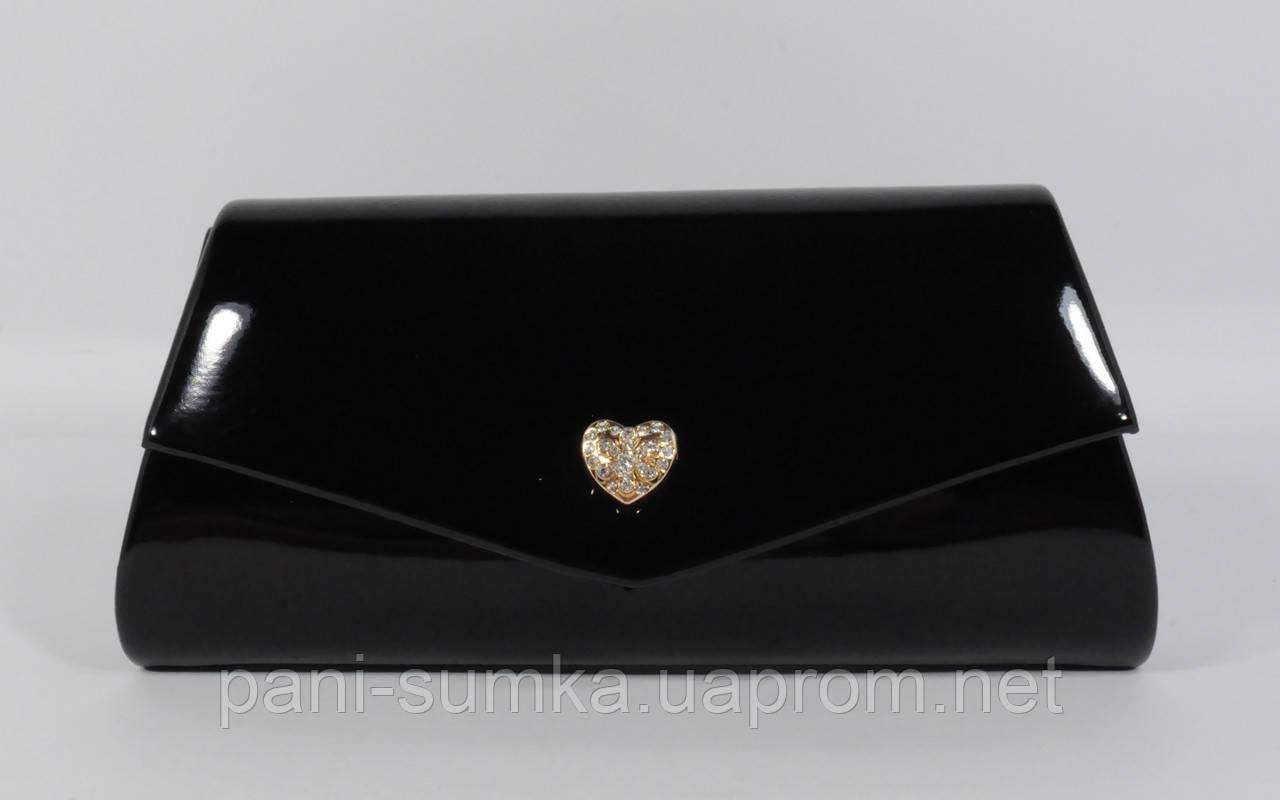 3825fac67fd2 Вечерний черный лаковый клатч Rose Heart 2-103056 на цепочке, фото 1