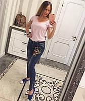 Облегающие джинсы с вышивкой и прорезами