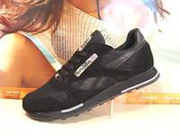 Мужские кроссовки Reebok classic LEATHER (реплика) черные 42 р., фото 1