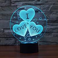 """LED ночник / светильник """"I love you"""". Меняет 7 цветов"""