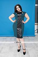Женское батальное платье с вертикальной полосой, расширяющейся к низу