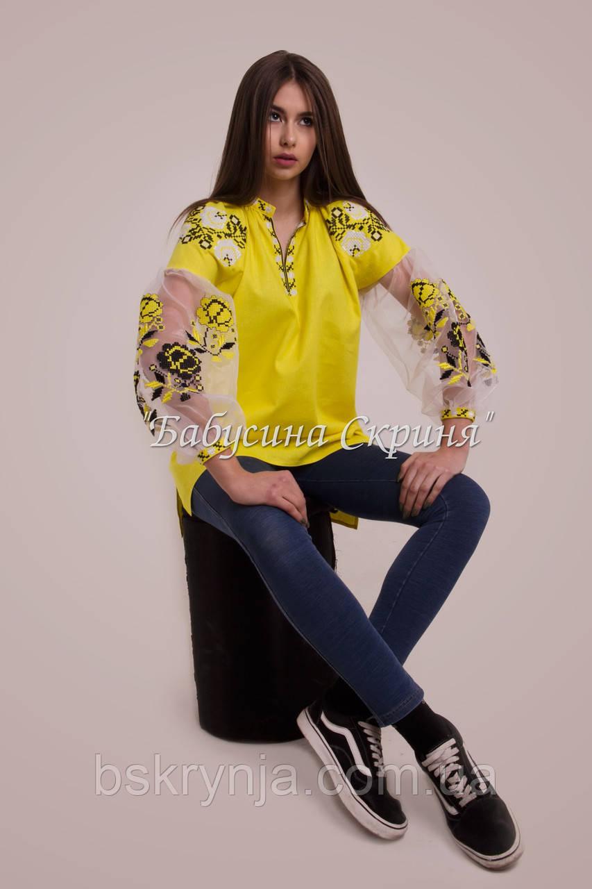 Вишита туніка жіноча МВ-01 жовта  продажа 5cca46f21d63b