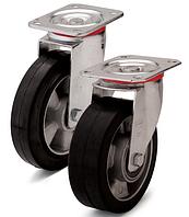 Колесо из эластичной резины, диаметр 100 мм, с поворотным стандартным кронштейном. Серия 20