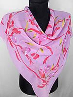 Жіночий рожевий хустку в квіточку з шифону 80х80 см (кол.13)