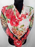 Жіночий красивий шифоновий хусточку з трояндами 80х80 см (кол.14)