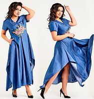 Модное,стильное,красивое женское джинсовое ассиметричное длинное платье большого размера