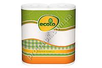 Полотенце бумажное, 2-х слойное белое, 45 листов, Ecolo, 2 рулона/уп