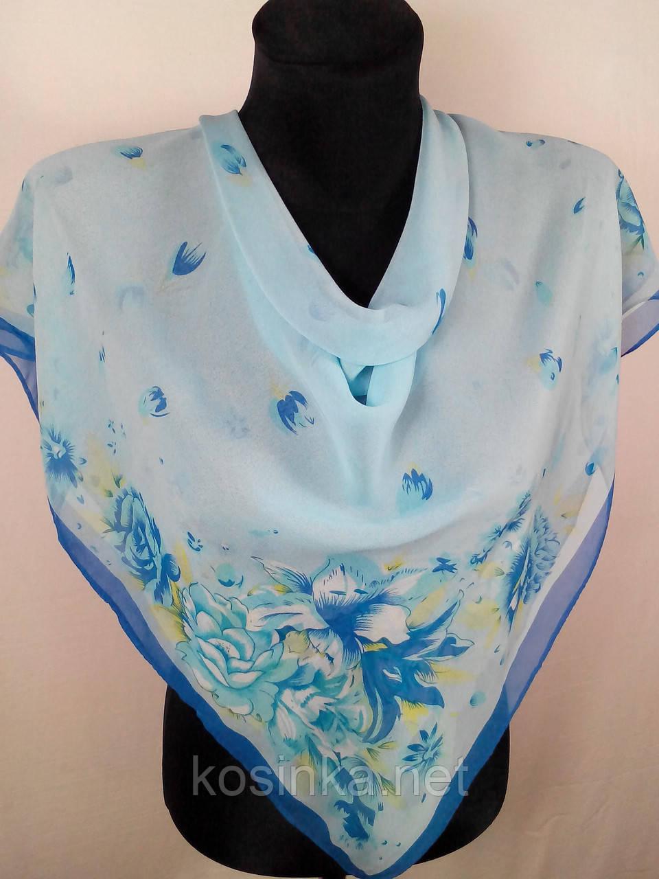Женский светло-голубой платок шифоновый на голову 80х80 см (цв.15)