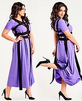 Красивое летнее женское молодежное длинное платье большого размера с лентами