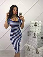 Жеское стильное платье в полоску до колен,2 цвета