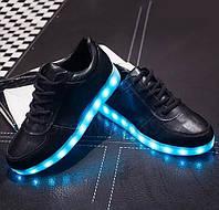 Светящиеся  кроссовки led чёрные