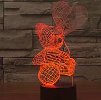 """LED ночник / светильник """"Мишка с воздушным шариком"""". Меняет 7 цветов"""