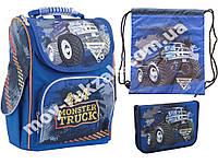 """Набор ранец ортопедический каркасный + сумка + пенал """"1 Вересня"""" Monster Truck H-11, 553296-1"""