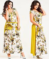 Красивое женское молодежное летнее длинное платье большого размера в цветочек с карманами
