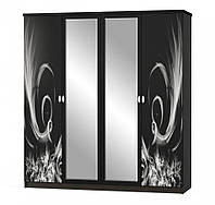 Распашной четырехдверный шкаф с зеркалом. Модель Ева (венге)
