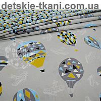 """Ткань хлопковая  """"Воздушные шары и аэропланы"""", фон серый ( № 676 б)"""