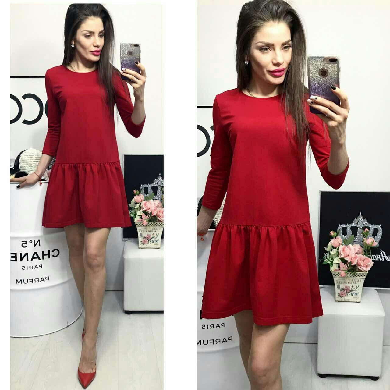 Платье трикотажное , модель 778, красное