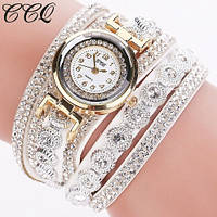 Женские наручные часы-браслет со стразами Crystal Diamond white