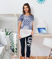 Комплект футболка, майка-туника и бриджи VIOLET 5634-R Турция. Размер M.
