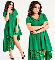 Красивое женское молодежное зеленое ассиметричное платье 2017 большого размера с перфорацией