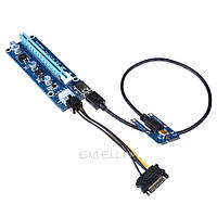 Версия r006с  Райзер mini PCI-E 1x 4x to 16x USB 3.0 Riser riser майнинг