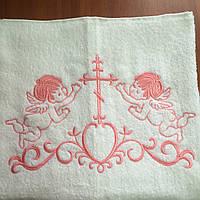 Крыжма для крещения махровая 70х140 см с розовой вышивкой