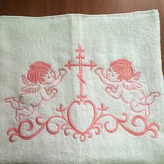 Крыжма для крещения махровая 100х150 см с розовой вышивкой