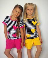 "Летний костюм для девочки с шортами ""Сердечки"" (2 цвета)"