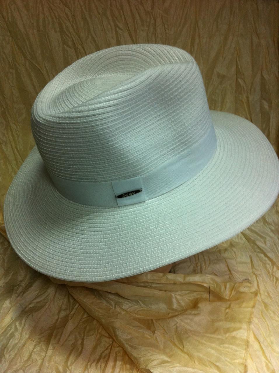 Шляпа мужская белая с белой лентой поля 8.7см