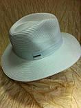 Шляпа мужская белая с синей лентой 56-58, фото 9