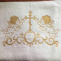 Крыжма для крещения махровая 70х140 см с золотой вышивкой