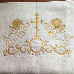 Крыжма для крещения махровая 100х150 см с золотой вышивкой