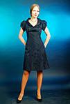 Платье  шелковое грифель жаккард трапеция женское (ПЛ 016), фото 3