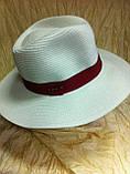 Шляпа мужская белая с синей лентой 56-58, фото 6