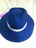 Шляпа мужская белая с синей лентой 56-58, фото 7