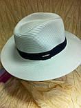 Шляпа мужская белая с синей лентой 56-58, фото 2
