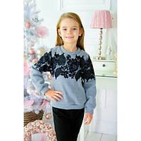 Теплый свитшот для девочки с украшением из кружева (3 цвета)