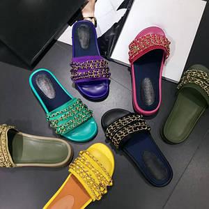 Женские шлепки сандали босоножки открытые натуральная кожа Chanel копия