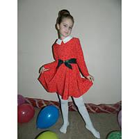 Платье для девочки с белым воротником и поясом из эко-кожи (2 цвета)